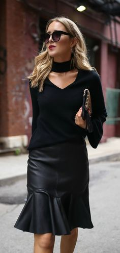 Cashmere cut-out sweater, black faux-leather peplum flare skirt, black ankle-strap bow sandals, leopard print clutch and black sunglasses {Bloomingdales, Rebecca Taylor, Alexandre Birman, Aqua, classic style, classy dressing, cashmere sweater, fashion blogger, classic style, fall style}
