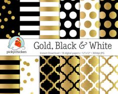 Gold Foil Digital Paper - Gold Black & White dots, stripes, confetti, and preppy lattice print by pickychicken Digital Paper Free, Digital Papers, Free Paper, Black White Gold, Gold Dots, Vintage Circus, Vintage Clip, Scrapbook Paper, Digital Scrapbooking