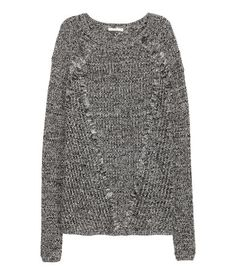 Black/white melange. Pattern-knit sweater in a soft cotton blend with narrow ribbing at cuffs and hem.
