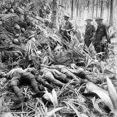 The bodies of dead Japanese soldiers, remnants of the Nankai Shitai (South Seas) force, outside a camouflaged bunker constructed with coconut palm logs. Buna, on the northern Papuan coast, 28 November 1942 Countries Of Asia, Bataan, Anzac Day, Military Pictures, War Photography, Military History, Military Art, Second World, Armed Forces