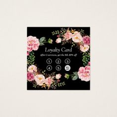 pink roses Loyalty Punch Card