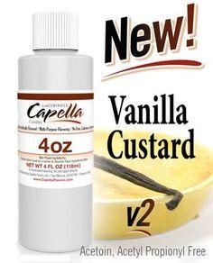 Capella Vanilla Custard - 118 ml UK Vanilla Custard, Bottle, Free, Shopping, Flask, Jars