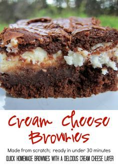 Cream Cheese Brownies Recipe - made from scratch and ready in 30 minutes! Quick homemade brownies with a delicious cream cheese layer. You'll never use a box again!!