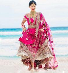Indian Bride In Hot Pink Lehenga Indian Wedding Bride, Indian Wedding Outfits, Bridal Outfits, Indian Outfits, Bridal Dresses, Indian Weddings, Wedding Dress, Wedding Bells, Dream Wedding
