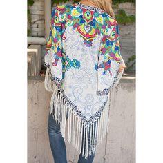 Vintage Collarless 3 4 Sleeve Floral Print Fringe Design Women s Kimono