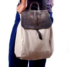 Large UNISEX  Hobo canvas and Leather cross body Bag, shoulder bag, , large handbag, carry bag,handmade bags, Canvas Tote, diaper   bag,