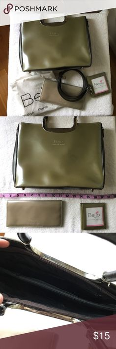 Beijo bag, wallet, picture case Olive colored Beijo bag (w/strap), wallet, and picture case. A few tiny markings from being in storage. Never used. Please make any offer!! beijo Bags