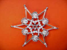 Bead star white/silver 8.2 cm beaded ornament by Sternenstuebchen