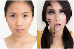 How to Broken Doll makeup Instructions not in English but pictures are clear & easy to understand