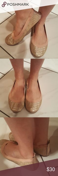 Samra Gold Basket Weave Leather Ballet Shoes Very comfy Amazingly comfy Cushioned Worn only a few times In great condition Samra Shoes Flats & Loafers