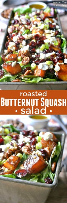Mixed greens topped with roasted butternut squash, pecans, dried cranberries, goat cheese, and maple mustard vinaigrette. The BEST Thanksgiving salad! Roasted Butternut Squash Salad Tricia Chism triciachism Holiday Ideas Mixed greens topped with r New Recipes, Vegetarian Recipes, Cooking Recipes, Healthy Recipes, Recipies, Recipes Dinner, Holiday Recipes, Healthy Salads, Healthy Eating