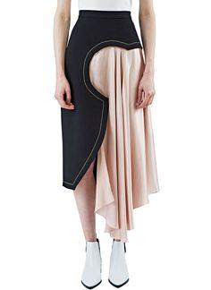 ROKSANDA Women'S Niamh Geometric Satin Draped Skirt In Black And Pink. #roksanda #cloth # Source D'inspiration, Skirt Fashion, Fashion Outfits, Womens Fashion, Roksanda, Geometric Fashion, Geometric Dress, Fashion Details, Fashion Design