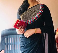 WhatsApp us for Purchase & Inquiry : Buy Best Designer Collection from by Kerala Saree Blouse Designs, Saree Blouse Neck Designs, Kurta Designs, Blouse Patterns, Saree Embroidery Design, Sari Design, Ethnic Sarees, Saree Trends, Elegant Saree