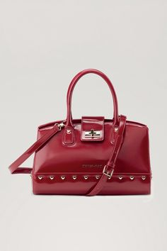TWIN-SET Simona Barbieri: Box bag with double handle and heart-shaped rivets Box Bag, Hermes Kelly, Satchel, Handle, Twin, Accessories, Positano, Heart, Collections
