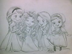 Elsa, Merida, Rapunzel and Anna cuties