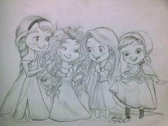 Elsa, Merida, Rapunzel and Anna. <-- The Interesting Hair Club: Girls Only!