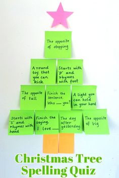 Add festive fun to spelling revision with this great Christmas tree spelling quiz for kids.