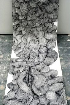 Line drawings by Sky Kim: endless, voluptuous, billowing form. :: lovely, i can't wait to draw something like this and i would install it exactly like this, part of it being on the floor! <3: