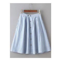 SheIn(sheinside) Vertical Striped Single Breasted Circle Skirt ($18) ❤ liked on Polyvore featuring skirts, blue, blue skater skirt, blue circle skirt, striped skirts, blue flared skirt and blue knee length skirt