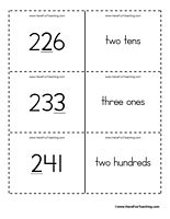 Place Value Flash Cards - Ones, Tens, Hundreds - Ones, Tens, Hundreds: Set of 117 place value flash cards for practicing ones place, tens place and hundreds place.