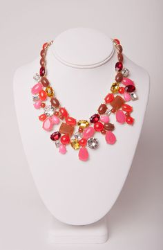 Multi-Colored Red/Pink/Brown Statement Necklace | Silkworm Boutique