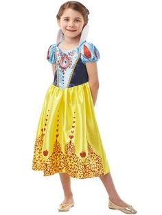 Snow White Gem Princess Girls Fancy Dress Costume, with famous high collar and puff sleeves this sparkly skirt is the Perfect Fairytale dress for all little Disney Princess Fans and a great choice for World Book Week. Costume Princesse Disney, Tiana Costume, Disney Princess Costumes, Cinderella Costume, Disney Princess Party, Disney Princesses, Princess Fancy Dress Costume, Fancy Dress Costumes Kids, Girl Costumes