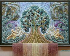 Yuri N. Felt Fabric, Fabric Art, Tapestry Weaving, Wall Tapestry, Yuri, Felt Tree, Wool Art, Textile Art, Handicraft