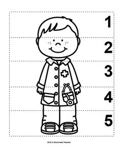 10 Community Helpers Number Sequence Preschool Math B&W Preschool Learning Activities, Preschool Worksheets, In Kindergarten, Preschool Activities, Space Activities, Camping Activities, Community Helpers Crafts, Community Workers, Number Sequence