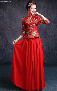 Chinese Wedding Two-Piece Qipao Tea Ceremony Dress
