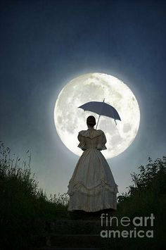 Victorian Woman With Parasol Looking At The Full Moon Art Print by Lee Avison. All prints are professionally printed, packaged, and shipped within 3 - 4 business days. Victorian Life, Victorian Women, Victorian Dresses, Native American History, Native American Indians, Romantic Scenes, Moon Magic, Moon Print, Romance