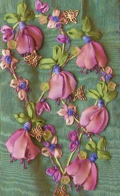 silk ribbon embroidery with ribbon worked flowers and leaves #Ribbonembroideryandcrafts