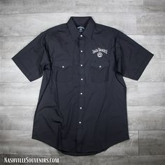 Officially licensed Jack Daniels Black Western Short Sleeve Shirt in black with white embroidered Jack Daniels swing and Old No. 7 Brand logo above the front left pocket. Jack Daniels Shop, Ladies Jack Daniels, Jack Daniels Gift Set, Jack Daniels Black Label, Jack Daniels Single Barrel, Jack Daniels Logo, Jack Daniels Bottle, Jack Daniels Merchandise, Jack Daniel's Tennessee Whiskey
