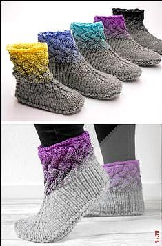 Knitting instructions for great wool slippers with Ombre effect / Knitting tutorial . - sybille fuchs - I episode Knitting instructions for great wool slippers with Ombre effect / Knitting tutorial . - sybille fuchs - I episode Alwa. Knitting Stitches, Knitting Patterns Free, Knitting Needles, Knit Patterns, Free Knitting, Knitting Socks, Loom Knitting, Stitch Patterns, Knit Slippers Free Pattern