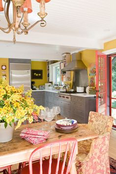 Yellow and grey kitchen with Yellow Big Chill fridge
