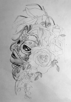 tattoo-vorlagen-frau-maske-haare-rosen-orchideen-blumen