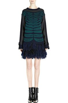 Sacai  Japanese designer Chitose Abe relaunched her label in 2010 and quickly garnered a massive fan base with her womenswear and menswear lines featuring functional, downtown-street dresses, coats, knits, and everything in between.   Sacai Zebra Print Fringed Hem Sweater, $1,059, available at Barneys New York.