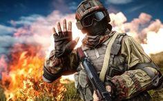 Preview wallpaper battlefield 4, soldiers, equipment, helmet, art