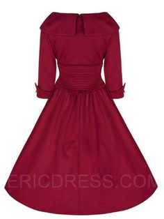 ebb88b9174 Ericdress Rockabilly Style mangas de tres cuartos de ropa informal vestidos  ocasionales Vestidos De Nenas