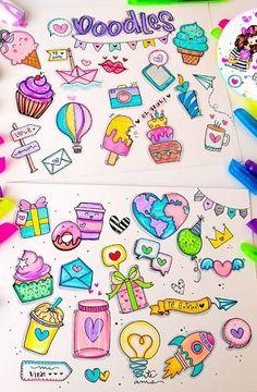 Love Doodles, Kawaii Doodles, Simple Doodles, Art Drawings For Kids, Drawing For Kids, Easy Drawings, Cute Doodle Art, Doodle Art Drawing, Doodle Lettering