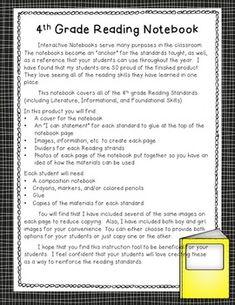 4TH GRADE INTERACTIVE READING NOTEBOOK (ALIGNED WITH COMMON CORE) - TeachersPayTeachers.com
