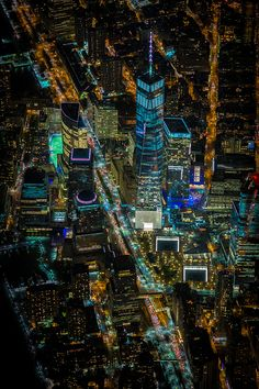 NYC. Aerial Photos of One World Trade Canter at night // by Vincent Laforet