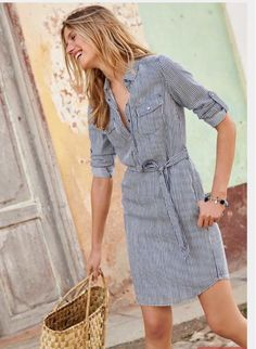 Love this blue pin stripe shirt dress!  Straw bag is a perfect accessory.  Spring summer stitch fix 2016.