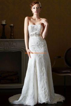 Trägerlose Schöne Glamouröse Brautkleider aus Softnetz mit Applikation