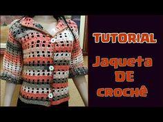TUTORIAL - Jaqueta/casaco de crochê super fácil - YouTube Crochet Jacket, Crochet Cardigan, Crochet Granny, Free Crochet, Crochet Clothes, Vest Jacket, Crochet Patterns, Coat, Sweaters
