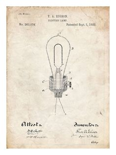 Buy THOMAS EDISON Light Bulb Electric Lamp 1882 US Patent Print 18x24 Poster Gift - This will look great in your office or mancave! by stevesposterstore. Explore more products on http://stevesposterstore.etsy.com