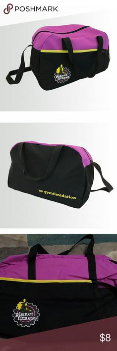 "New PT gym duffle New planet fitness gym bag.    Pack in a flash with this easy-tote zippered sling bag. Includes front towel pocket and mesh water bottle holster. 17"" x 10"" Purple. Planet Fitness Bags"