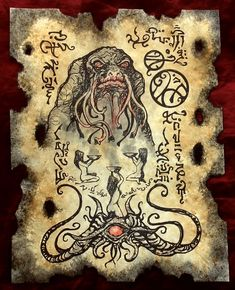CULT of THE TOAD Cthulhu larp Necronomicon Scrolls dark occult witchcraft magick Lovecraftian Horror, Call Of Cthulhu, Cthulhu Art, Satanic Art, Dark Artwork, Occult Art, Demonology, Magic Art, Fantasy Rpg