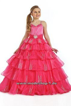 Bodenlanges Mädchen Abendkleid Ballkleid in Pink  Blumenmädchenkleid mit Trägern und Pailetten  www.modeshop-1.de