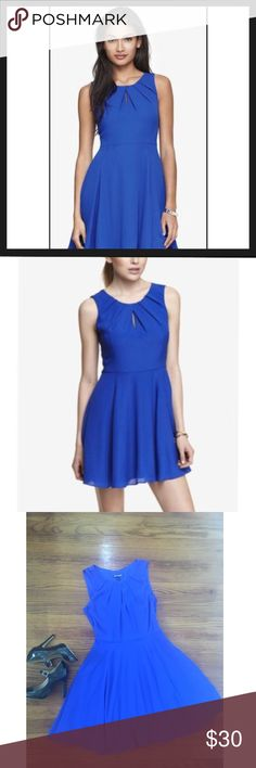 Express Fit and Flare Keyhole Blue Silky Dress 👗 Express Fit and Flare Keyhole Blue Silky Dress 👗 Flattering shape with soft fabric. Only worn once. Zipper on the side. Size 2 Express Dresses Mini