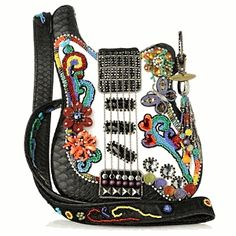"""Good Vibes"" hand beaded guitar purse by Mary Frances – $226"